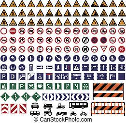 Traffic Sign - Vector illustration of hundreds Traffic Sign...