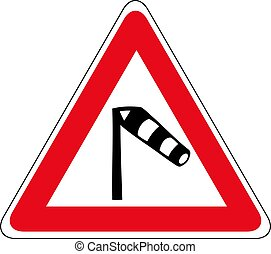 Traffic sign warning about crosswind from the left icon. Windsock traffic sign. Vector illustration of triangular sign for windsock road sign isolated on white background.