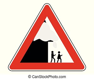 Traffic sign warning roof avalanche