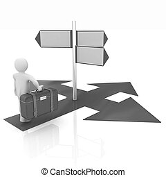 Traffic sign with 3d person