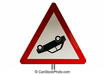 traffic sign with a car upside down. white background -...