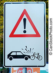 attention danger of accident - traffic sign with attention...