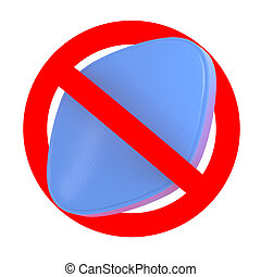 traffic sign with blue pill, No drugs concept, 3d...