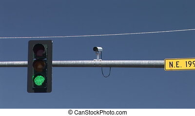 Traffic Signal - Traffic signal changing from green to...