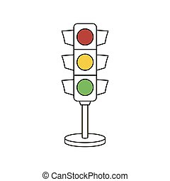 Traffic signal light outline vector icon