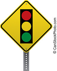 Traffic signal traffic warning sign. Diamond-shaped traffic signs warn drivers of upcoming road conditions and hazards.