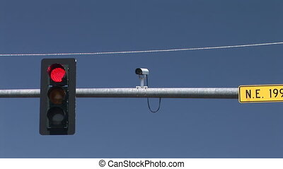 Traffic signal changing from red to green, Vancouver, Washington