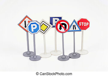 Traffic signs on a white background