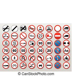 Traffic signs - Prohibit and restrict - Traffic sign...