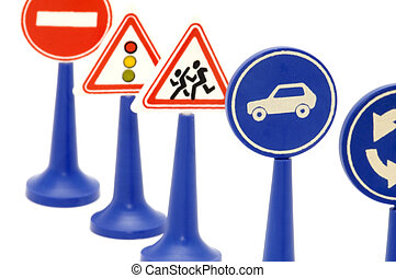 traffic signs - series object on white - road sign on white