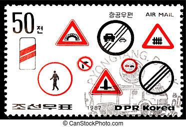 Traffic signs stamp