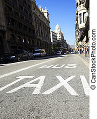 Traffic signs Taxi and Bus , low angle view of street with ...