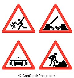Traffic signs vector set on white background