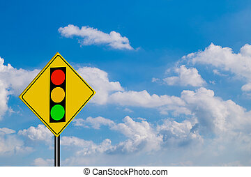 Traffic Signs,of red light on sky background