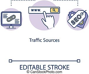 Traffic sources concept icon. Visitors attraction strategy idea thin line illustration. SEO tips for business development. Vector isolated outline RGB color drawing. Editable stroke