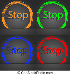 Traffic stop sign icon. Caution symbol. Fashionable modern style. In the orange, green, blue, red design.