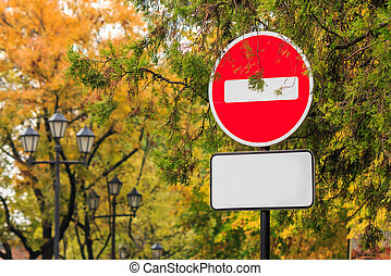 traffic stop sign on autumn background. - traffic stop sign...