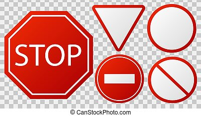Traffic stop signs. Red police restricted road sign to enter stop danger isolated vector icon set