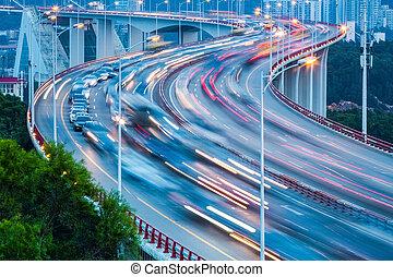 traffic stream closeup on the bridge