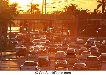 Traffic: Sunset - traffic at sunset. Golden Traffic