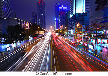 Traffic through downtown of Shenzhen at night