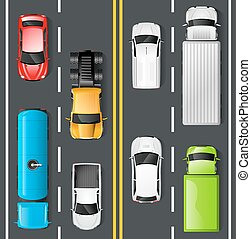 Traffic Top View - Highway traffic concept with top view...
