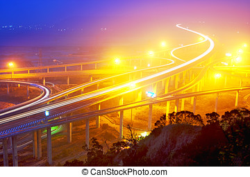 Traffic track on highway in the night in taiwan