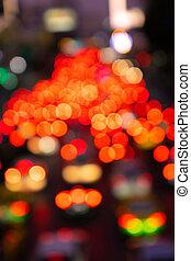 traffic., transport, footage., rue., flou, confiture, trafic, brouillé, nuit, frein, dense, large, ville, lights., interchange.