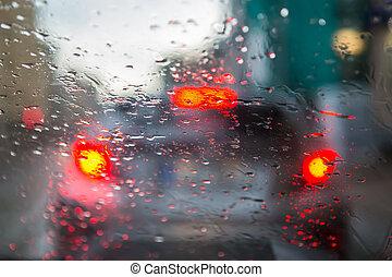 traffic view through a wet windshield