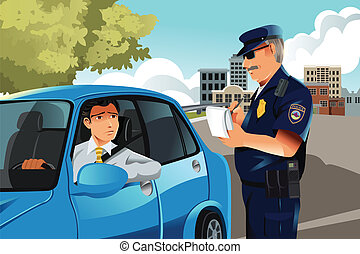 A vector illustration of a policeman giving a driver a traffic violation ticket