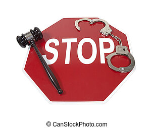 Traffic Violations - Traffic violations shown by a stop sign...