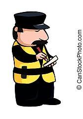 Traffic warden - A cartoon image of a traffic warden or cop.