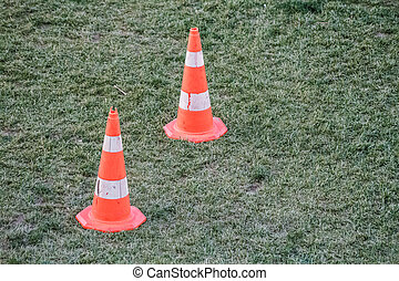 Traffic Warning Cones in the Grass