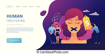 trafficking concept landing page. - Woman with duct tape on ...