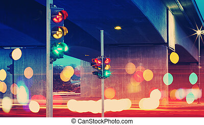 Trafficlights in the city at night time