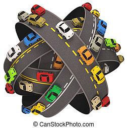 traffico automobile, strada