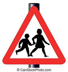 traffico, bambini, segno