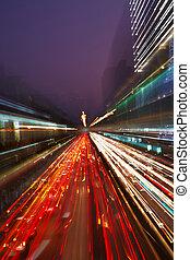 traffico città, notte