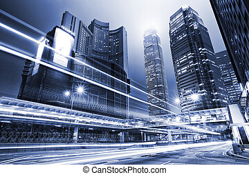 traffico, con, offuscamento, luce, attraverso, città, notte