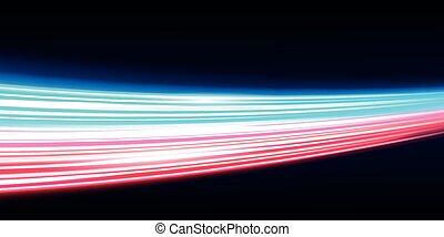 traffico, creativo, luce film, lungo, vettore, alto, disegno, tunnel, esposizione, modo, arte, luci, illustrazione, sfocato, velocità, notte, movimento, effetto, template., elemento, concetto, fondo., strada
