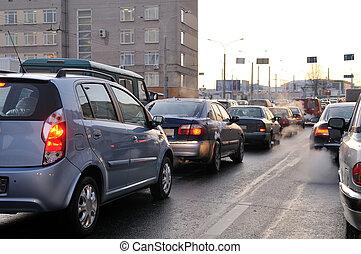 traffico, durante, il, ora di punta