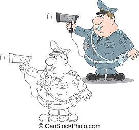 traffico, poliziotto, con, uno, radar
