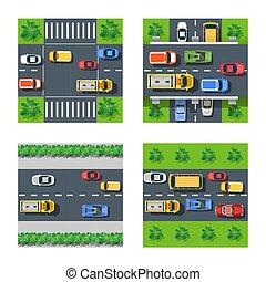 traffico, set, trasporto