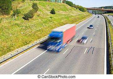 traffico, su, uno, autostrada