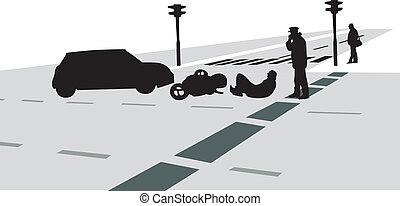 traffico, vettore, silhouette, incidente