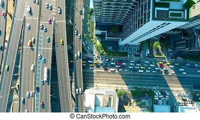 trafic, 01, confiture, au-dessus, bangkok, aérien, autoroute, vue