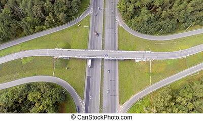 trafic, aérien, autoroute, vue