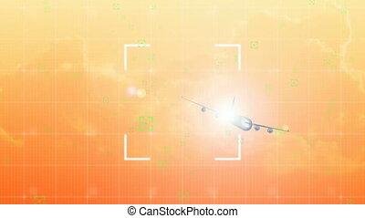 trafic, animation, navigation, système, avion, contrôle, air