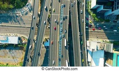 trafic, au-dessus, bangkok, aérien, autoroute, vue