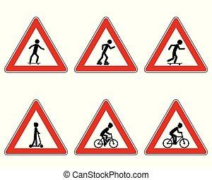 trafic, avertissement, divers, signe, sports